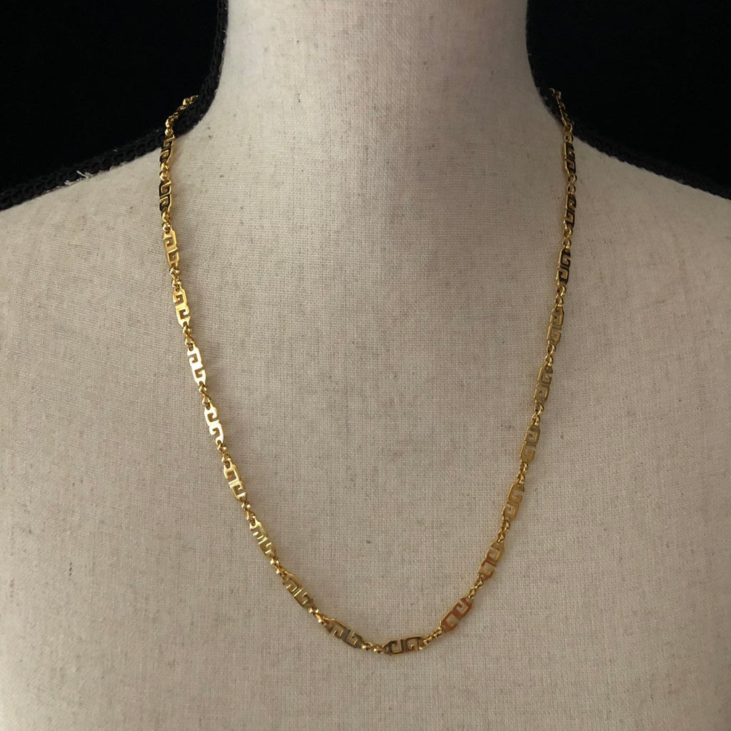Gold Classic Givenchy 'G' Logo Long Chain Necklace-Sustainable Fashion with Vintage Style-Trending Designer Fashion-24 Wishes