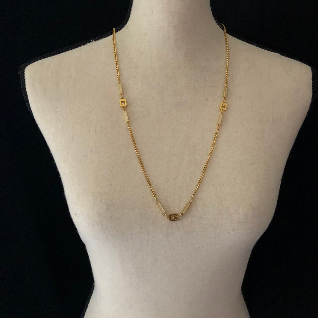 Givenchy Gold 'G' Logo Vintage Necklace