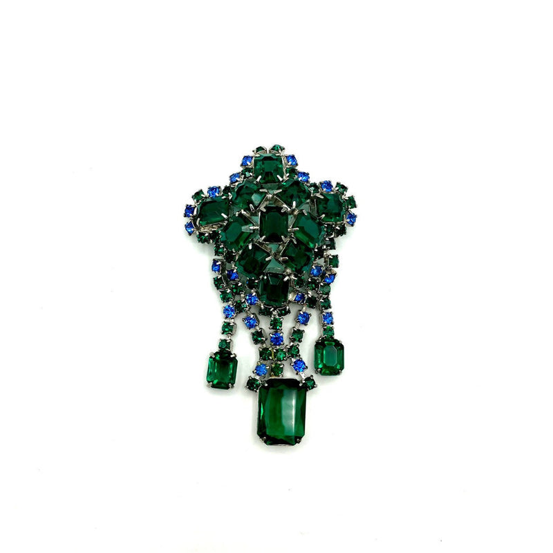 Art Deco Style Emerald Green & Blue Rhinestone Dangle Brooch