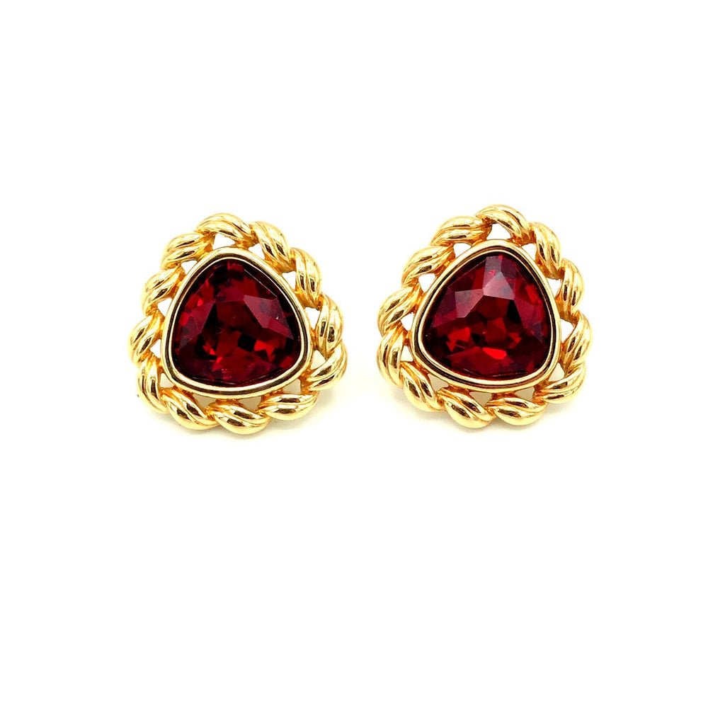 Swarovski Red Triangle Gold Setting Vintage Earrings