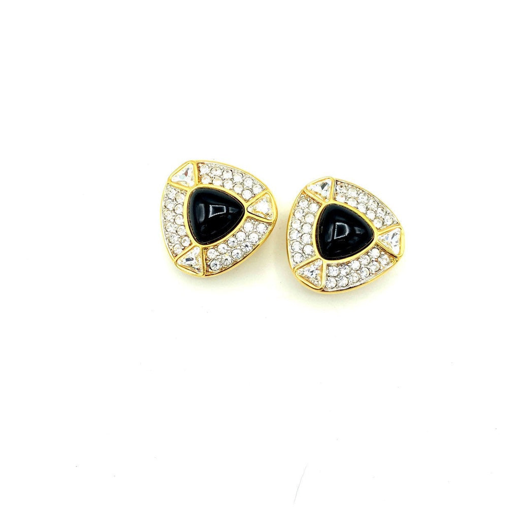 update alt-text with template Swarovski Gold Diamante & Black Cabochon Vintage Earrings-Earrings-24 Wishes-[trending designer jewelry]-[swarovski jewelry]-[Sustainable Fashion]
