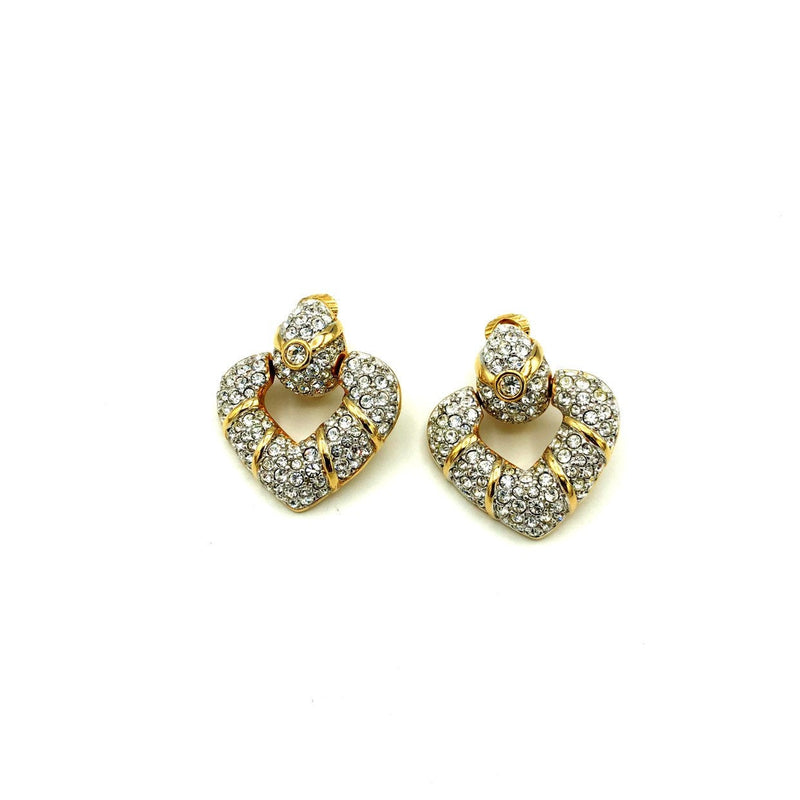 update alt-text with template Gold Swarovski Clear Crystal Rhinestone Heart Door Knocker Earrings-Earrings-24 Wishes-[trending designer jewelry]-[swarovski jewelry]-[Sustainable Fashion]