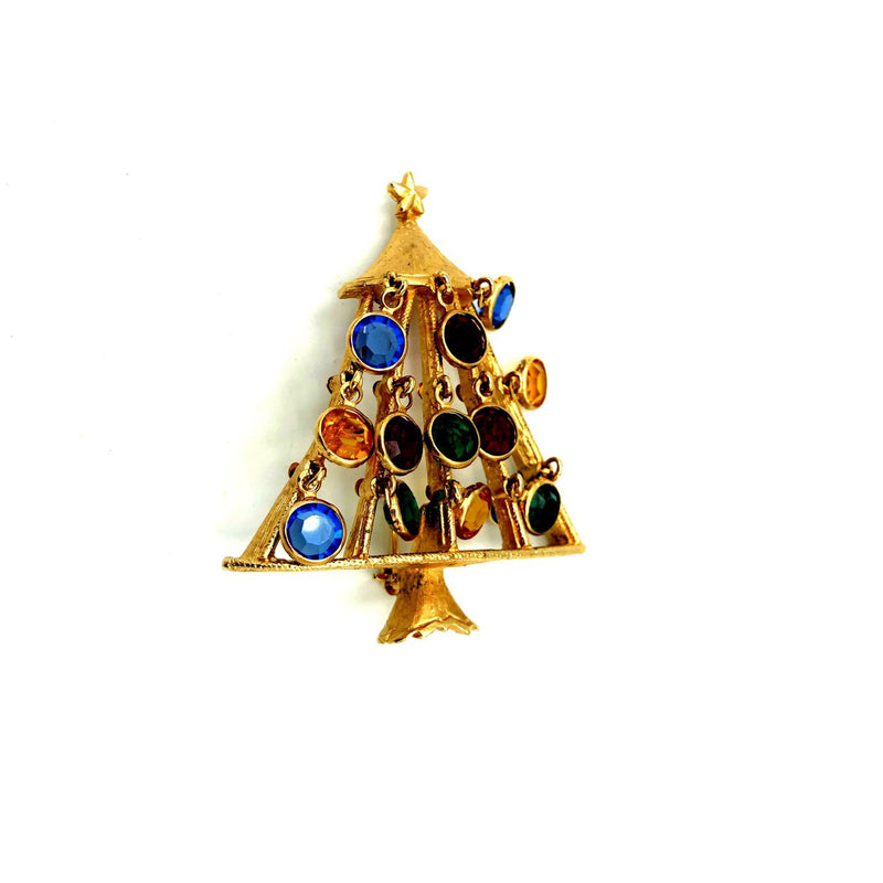 Gold Christmas Tree Colorful Dangling Crystal Brooch by R. Mandle-Sustainable Fashion with Vintage Style-Trending Designer Fashion-24 Wishes