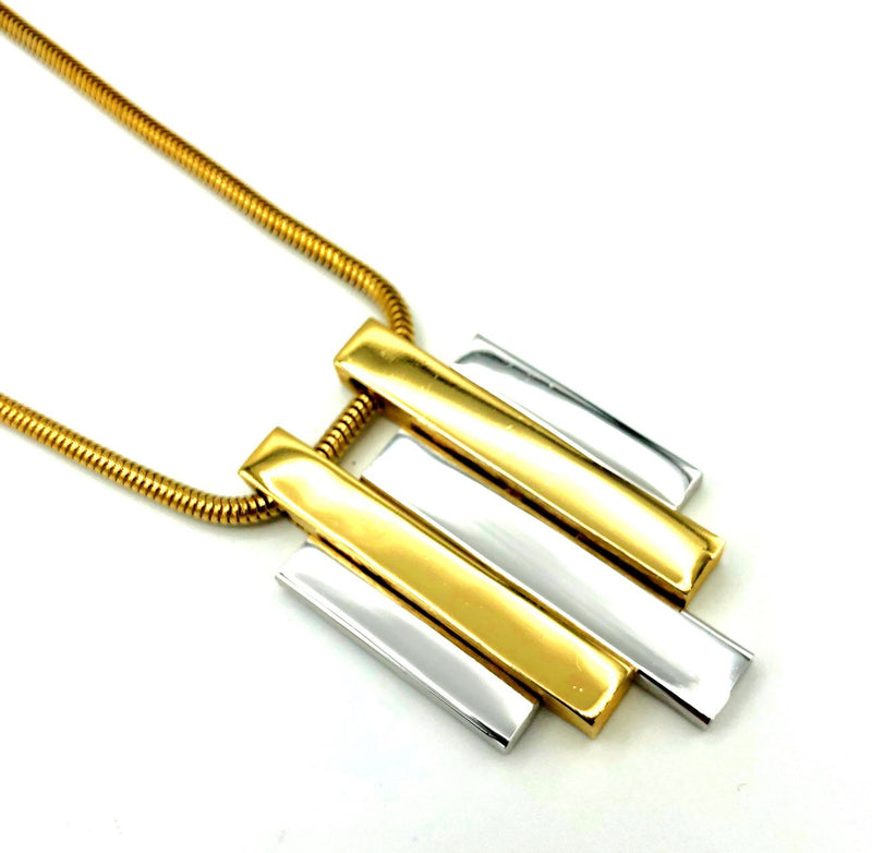 Vintage Gold & Silver Modernist Pendant-Sustainable Fashion with Vintage Style-Trending Designer Fashion-24 Wishes