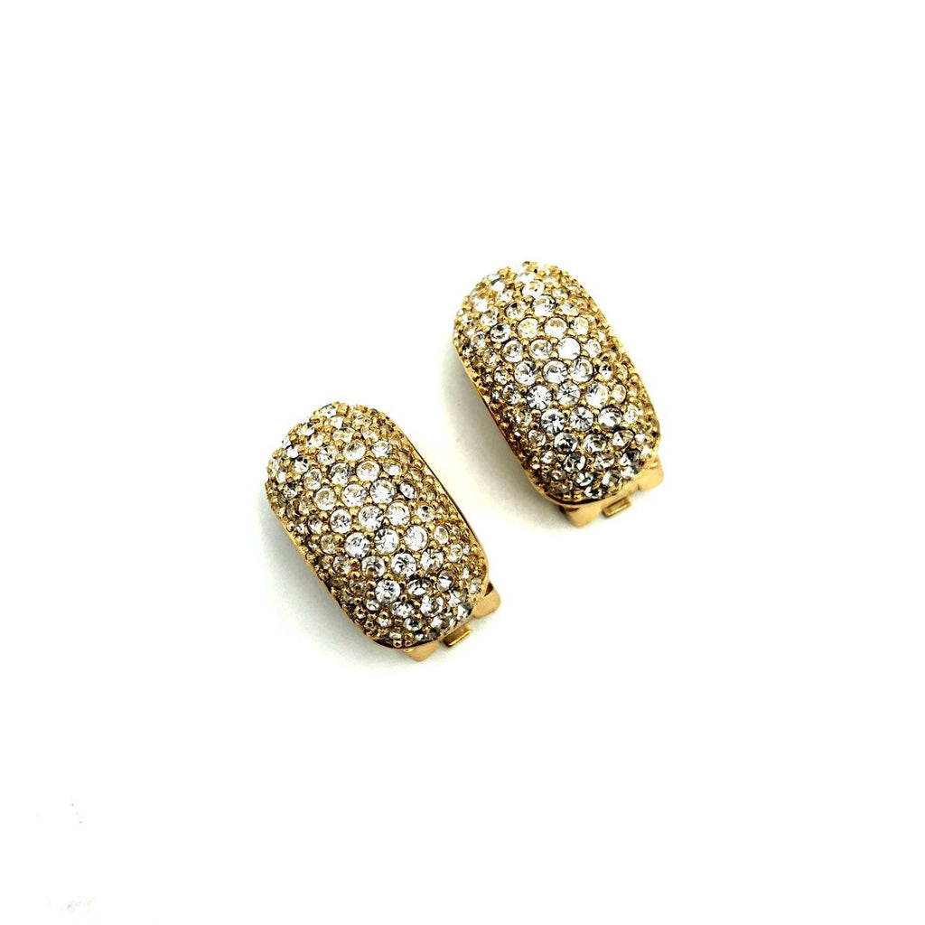 update alt-text with template Christian Dior Gold Diamante Pave Vintage Half Hoop Clip-On Earrings-Earrings-Christian Dior-[trending designer jewelry]-[christian dior jewelry]-[Sustainable Fashion]