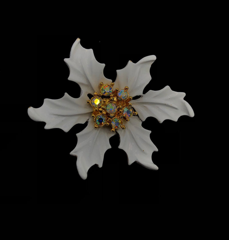 Vintage White Enamel Poinsettia Holly Brooch-Sustainable Fashion with Vintage Style-Trending Designer Fashion-24 Wishes