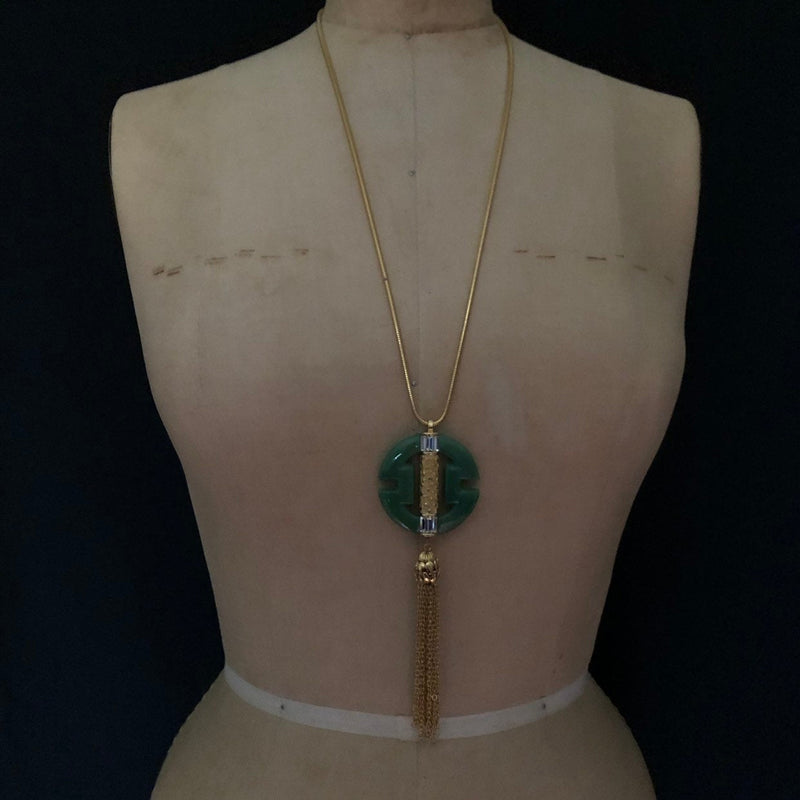 Givenchy Green Jade Logo Gold Tassel Vintage Pendant-Necklaces & Pendants-Givenchy-[trending designer jewelry]-[givenchy jewelry]-[Sustainable Fashion]