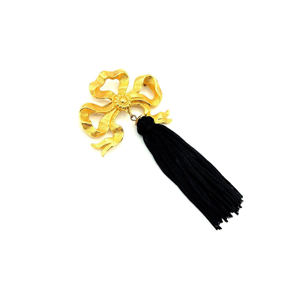 Gold Bow Ribbon & Black Tassel Vintage Brooch-Sustainable Fashion with Vintage Style-Trending Designer Fashion-24 Wishes