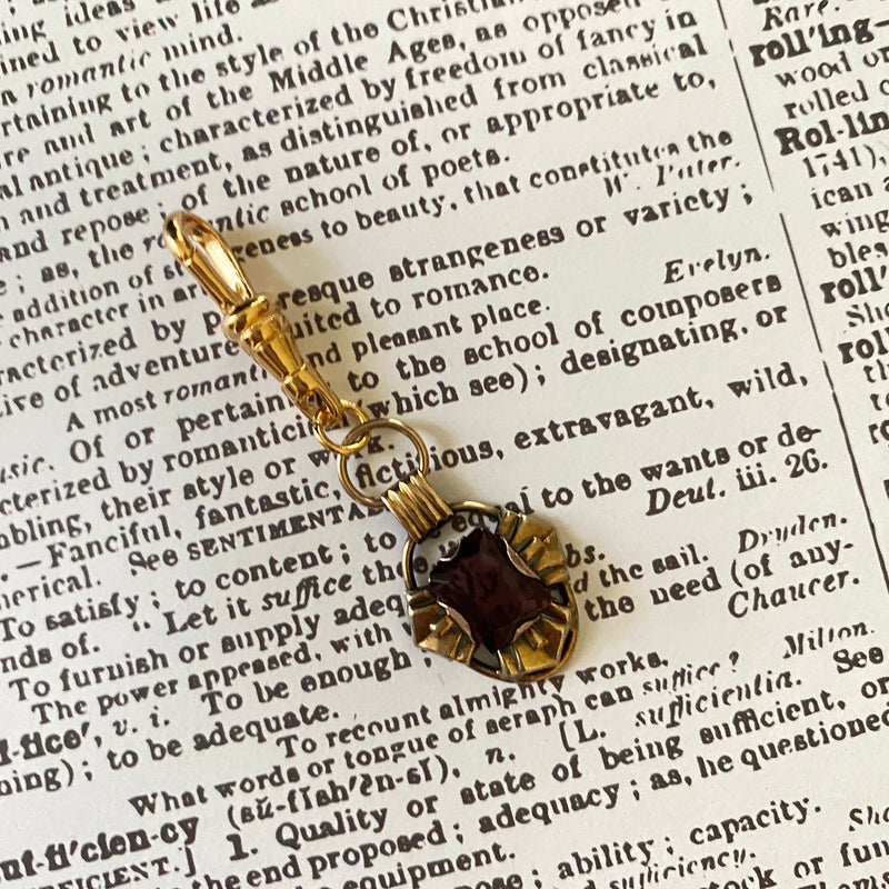 Purple Amethyst Crystal Victorian Revival Charm Swivel Fob Jewelry