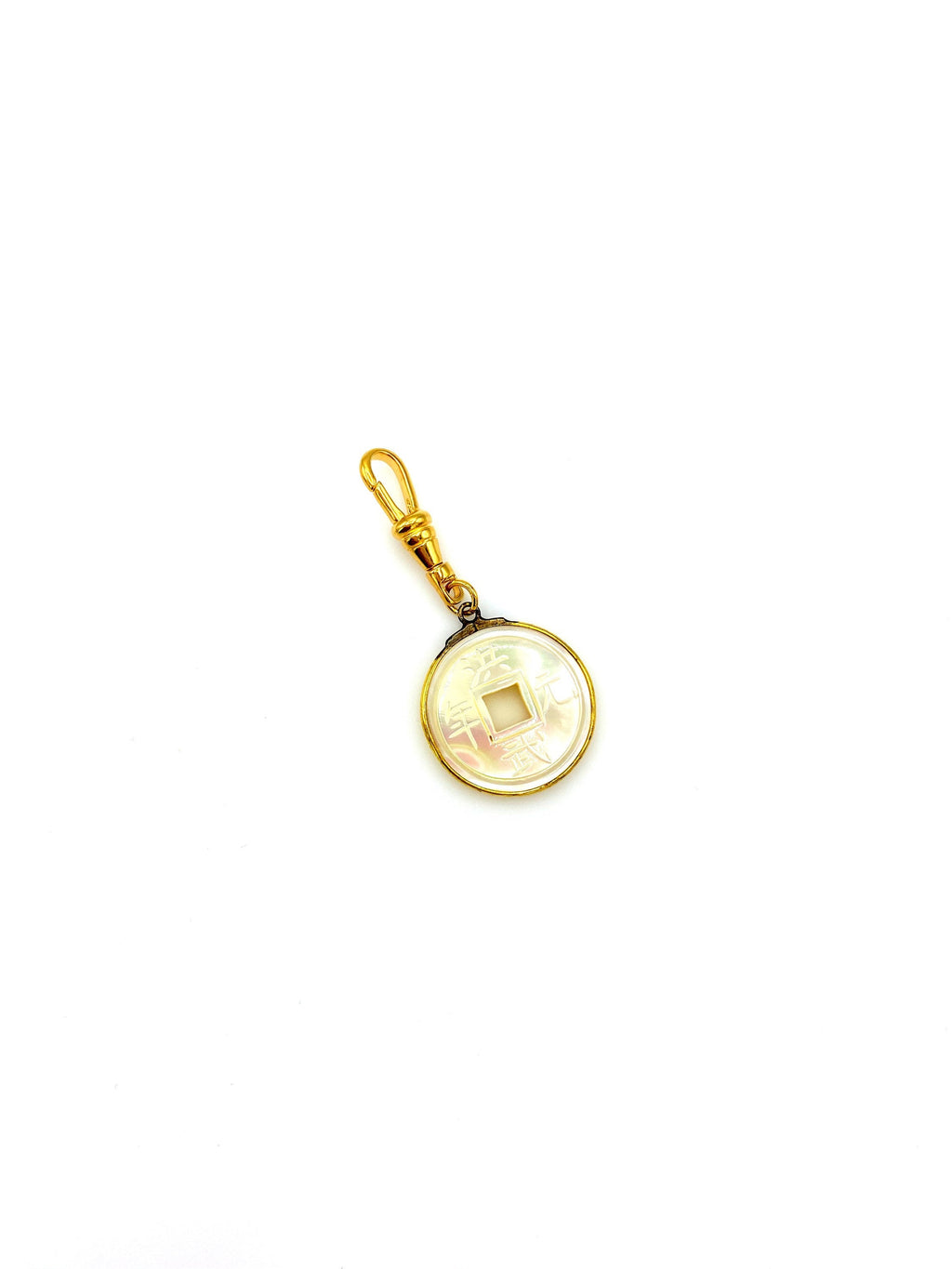 Asian Chinese Mother of Pearl Coin Charm Swivel Fob Jewelry
