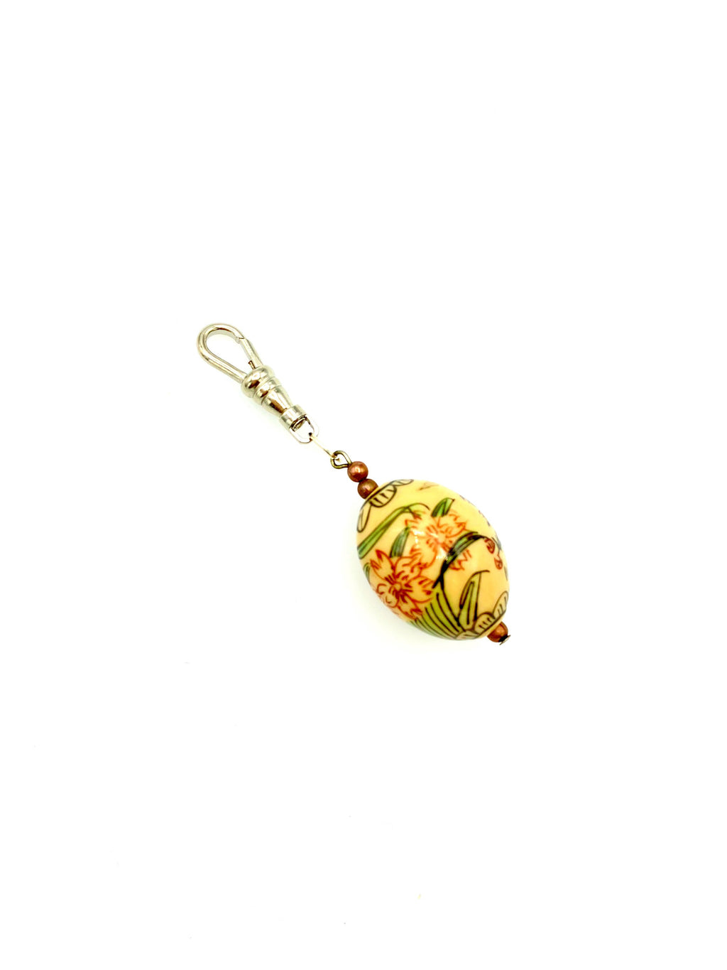 Asian Lacquer Floral Bead Charm Swivel Fob Jewelry
