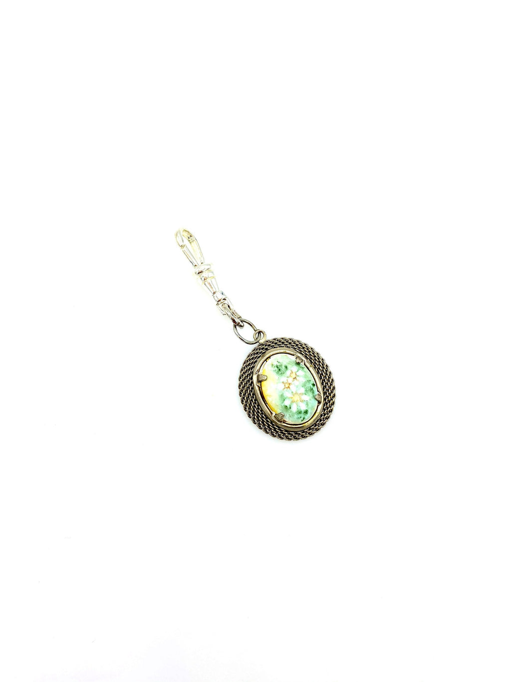 Silver Painted Daisy Victorian Revival Charm Swivel Fob Jewelry