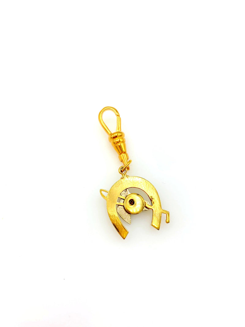 Gold & Silver Horse Shoe Charm Swivel Fob Jewelry
