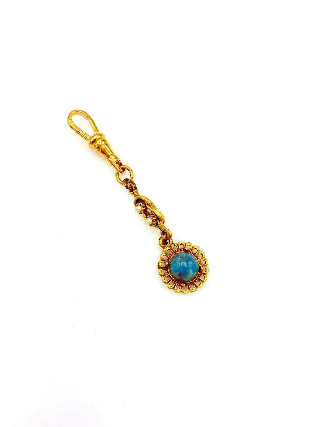 Gold Daisy Victorian Revival Charm Swivel Fob Jewelry