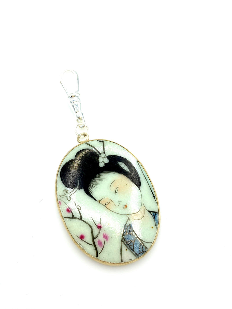 Large Hand Painted Asian Ceramic Charm Swivel Fob Jewelry
