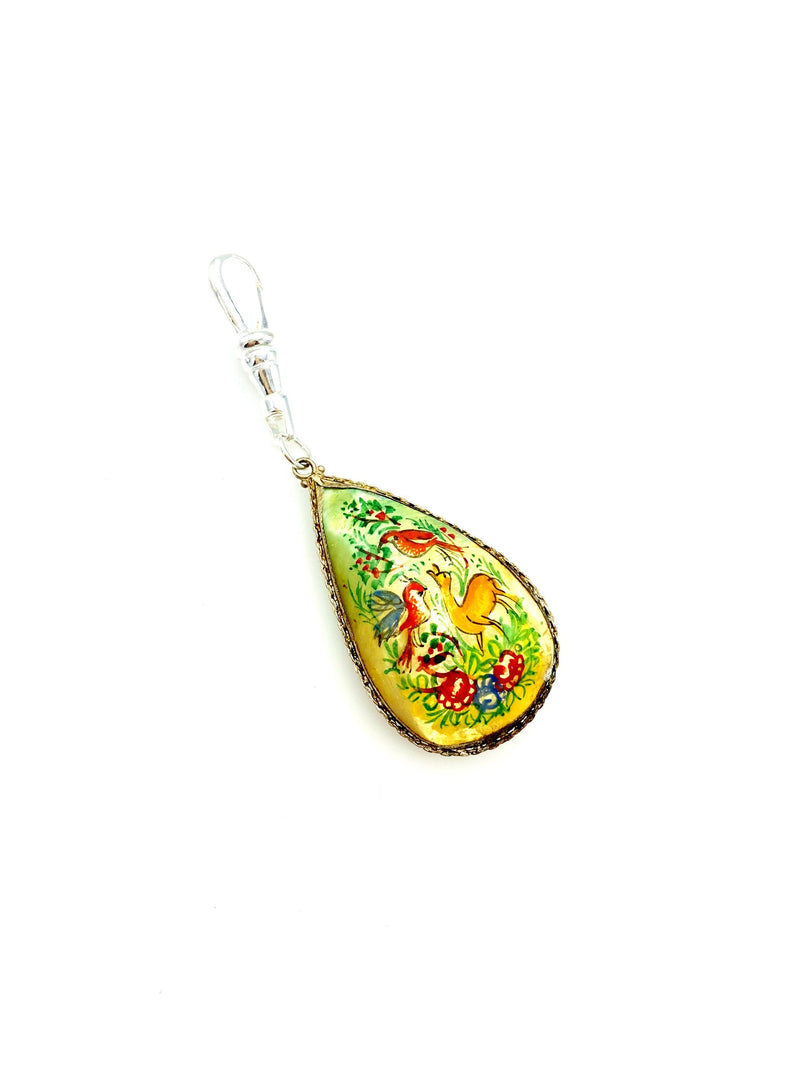 Teardrop Hand Painted Nature Scene Charm Swivel Fob Jewelry