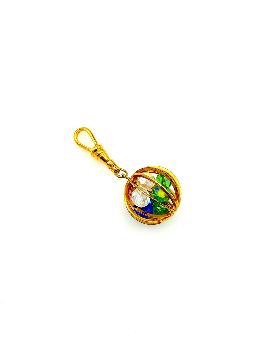 Caged Rainbow Beads Globe Vintage Charm Swivel Fob Jewelry