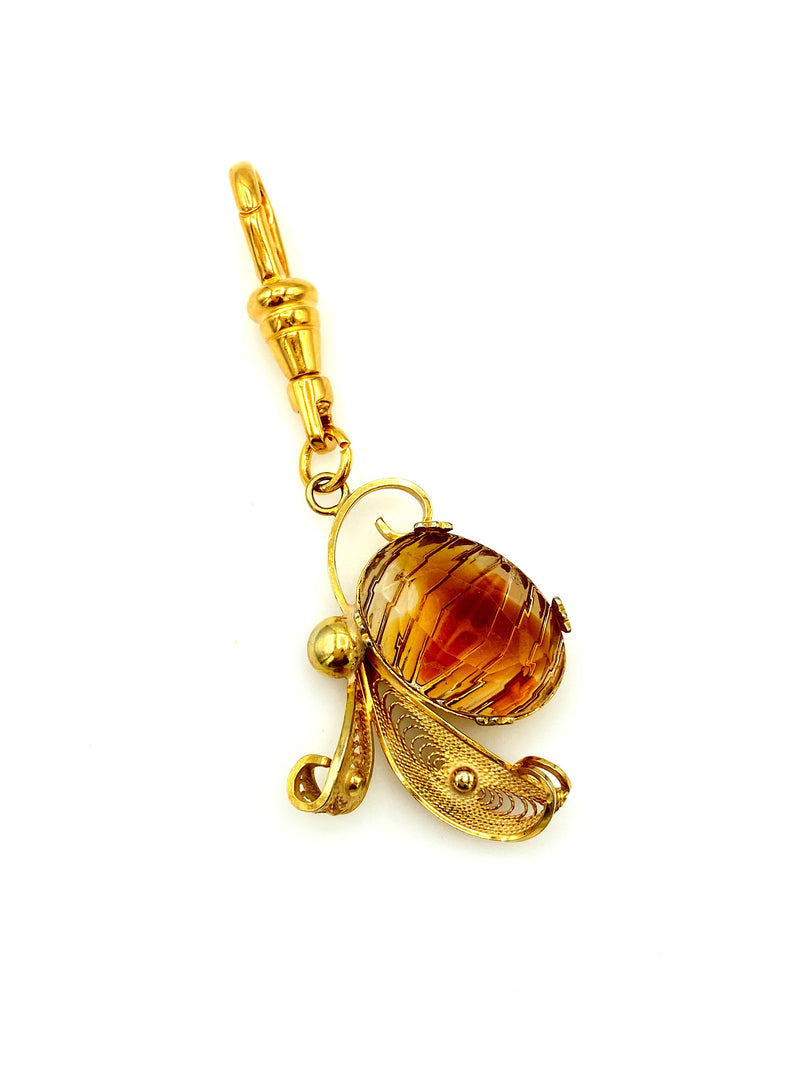 Gold Filled Filigree Floral Charm Swivel Fob Jewelry