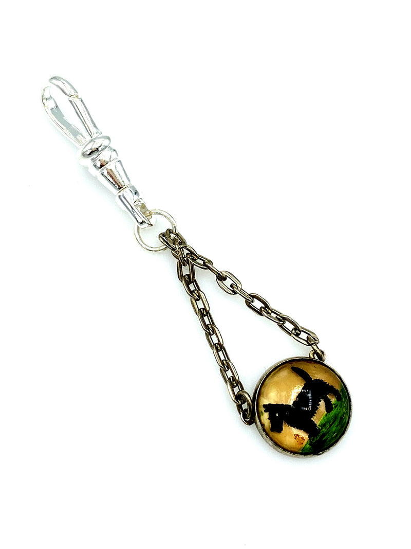 Reverse Painted Dog Vintage Charm Swivel Fob Jewelry