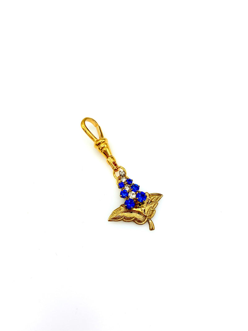 Gold Floral Blue Rhinestone Victorian Revival Charm Swivel Jewelry