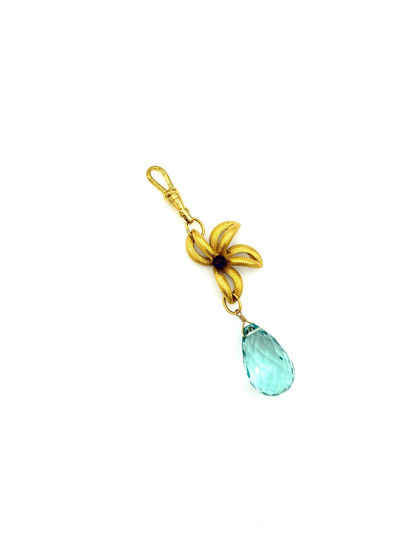 Gold Flower Blue Crystal Teardrop Charm Swivel Fob Jewelry