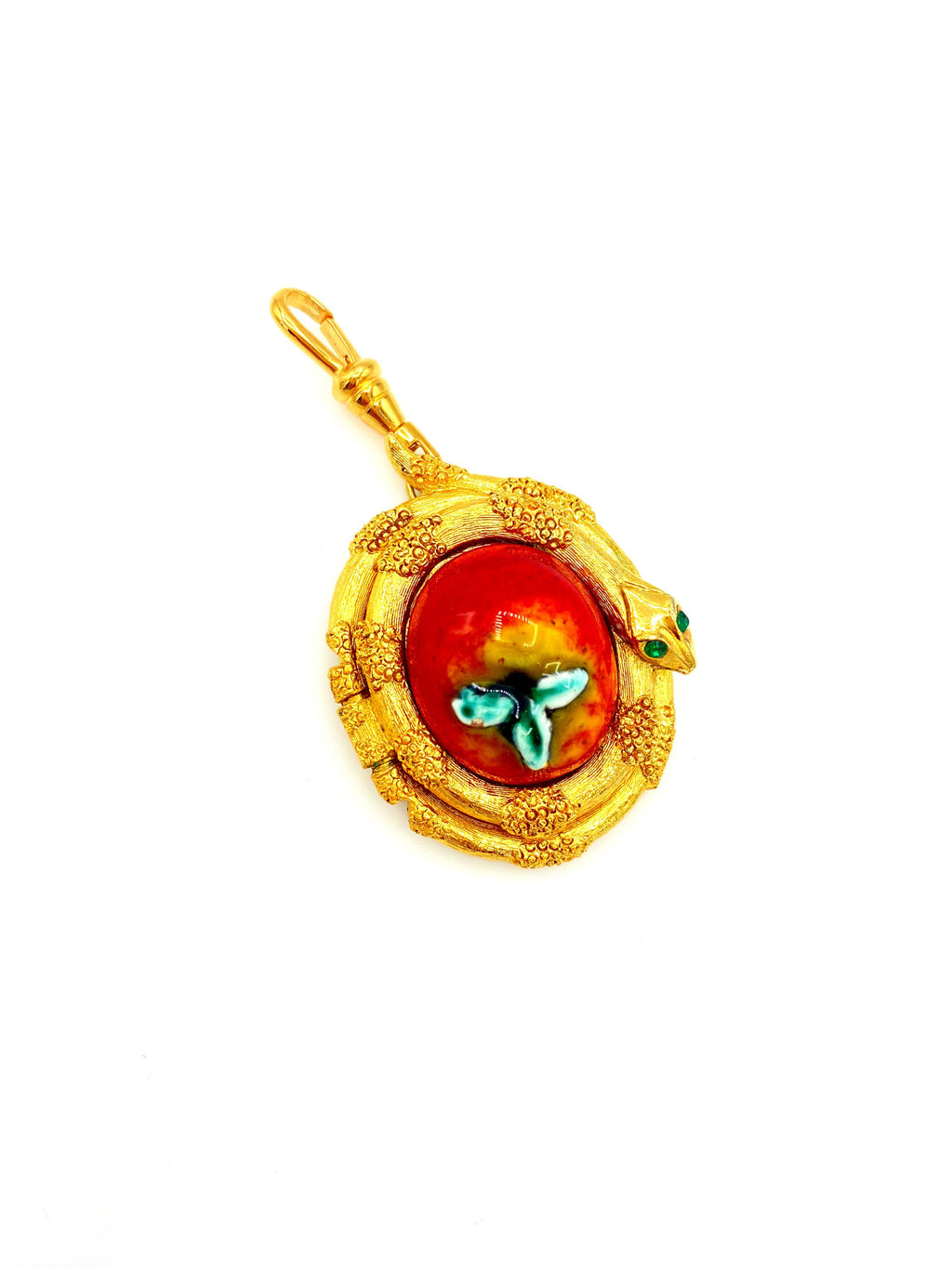 Gold Snake & Enamel Apple Locket Charm Swivel Fob Jewelry