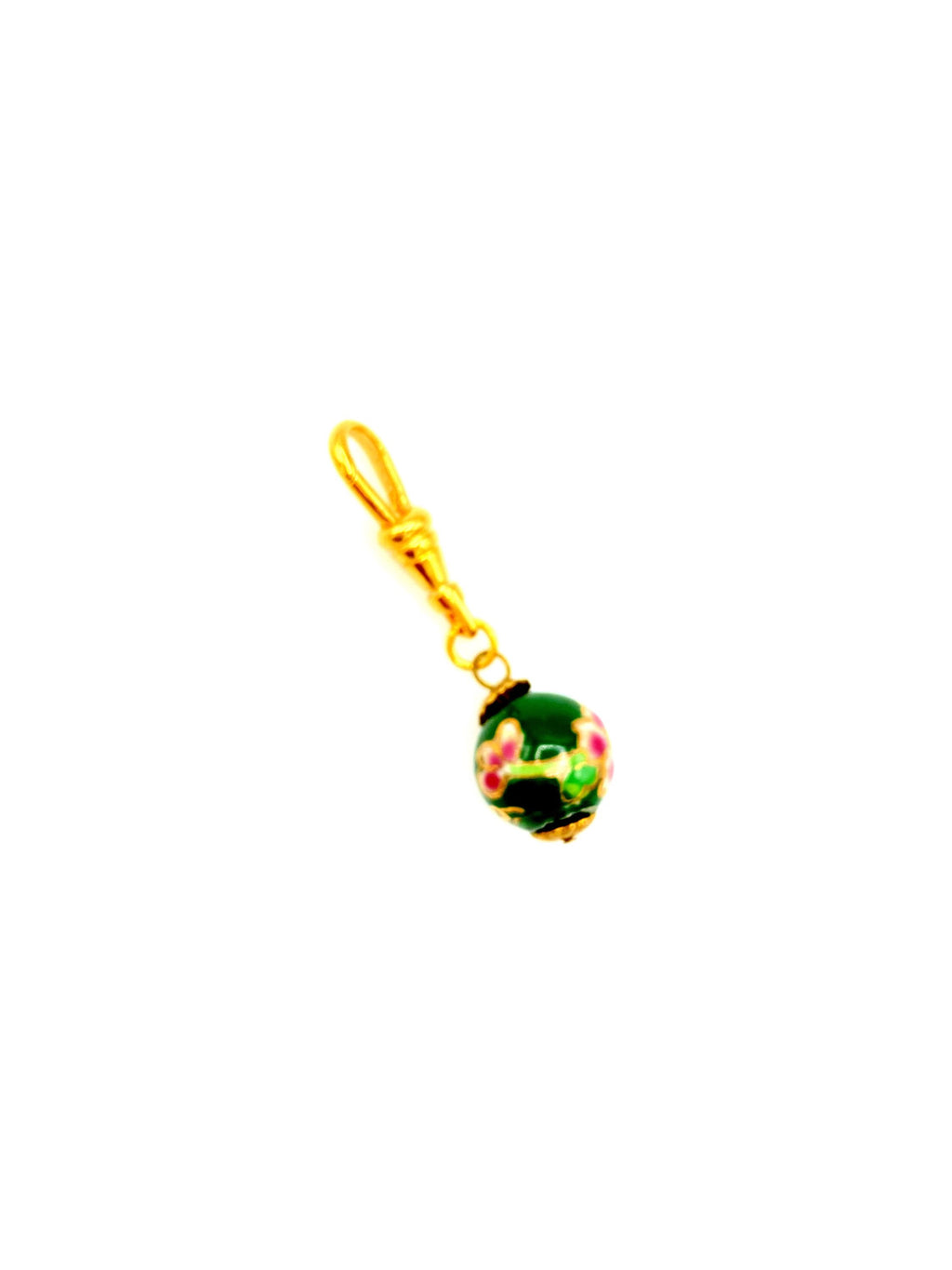 Hand Painted Floral Bead Charm Swivel Fob Jewelry
