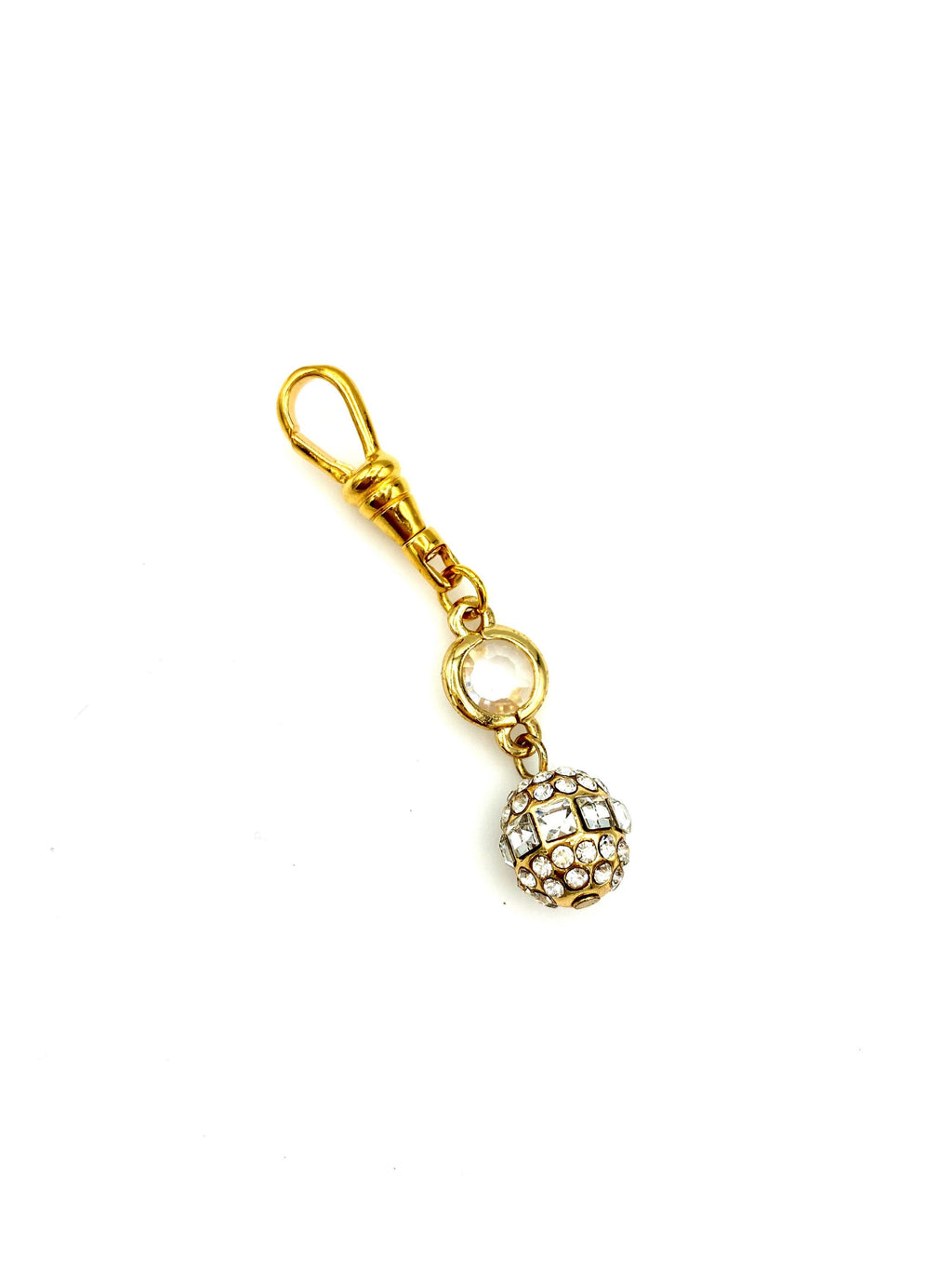 Gold Crystal & Rhinestone Victorian Revival Charm Swivel Fob Jewelry