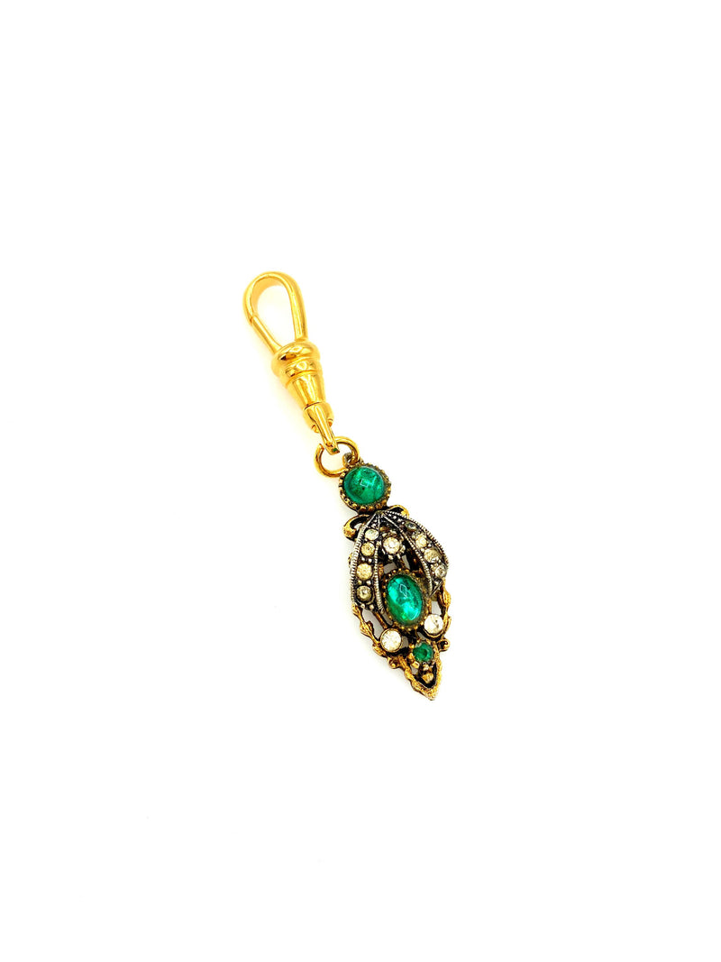 Gold & Green Rhinestone Victorian Revival Charm Swivel Fob Jewelry