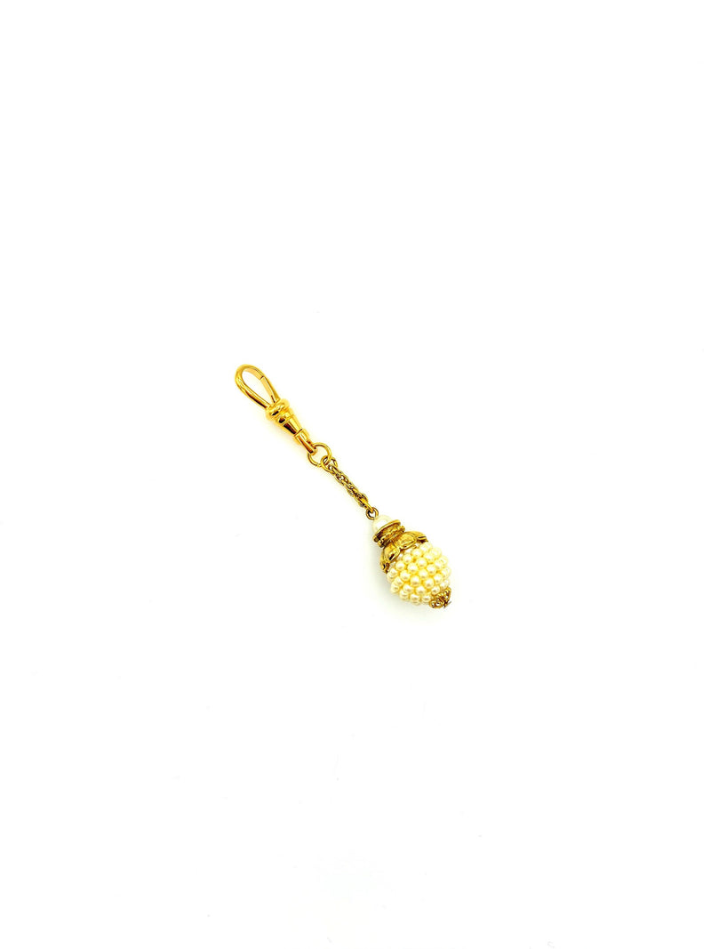 Gold Faux Seed Pearl Bead Victorian Revival Charm Swivel Fob Jewelry