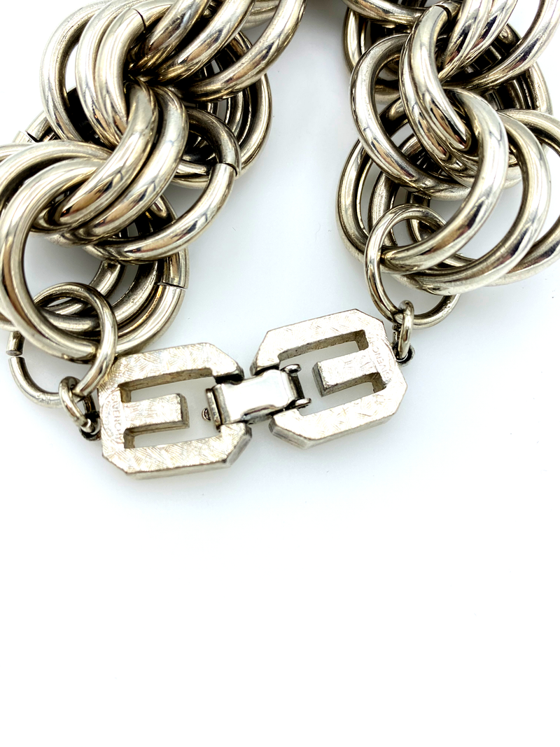 Givenchy Silver Three Link Stacking Chain Vintage Bracelet-Bracelets-Givenchy-[trending designer jewelry]-[givenchy jewelry]-[Sustainable Fashion]