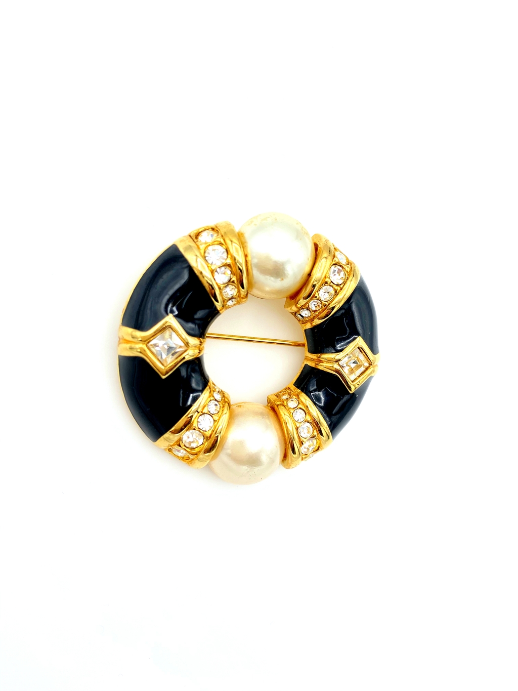 update alt-text with template Swarovski Gold Rhinestone Pearl & Black Enamel Circle Brooch-Brooches & Pins-24 Wishes-[trending designer jewelry]-[swarovski jewelry]-[Sustainable Fashion]