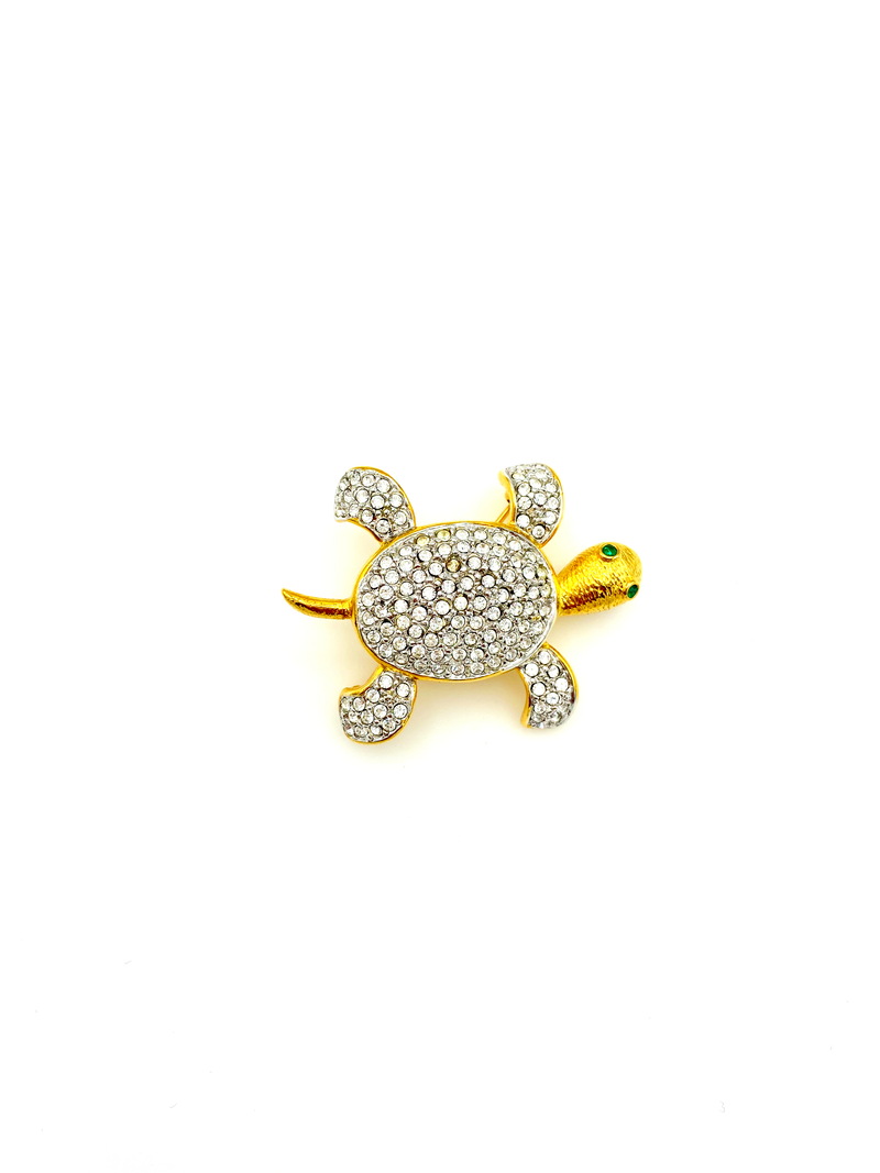 Joan Rivers Gold Rhinestone Pave Turtle Brooch Pin