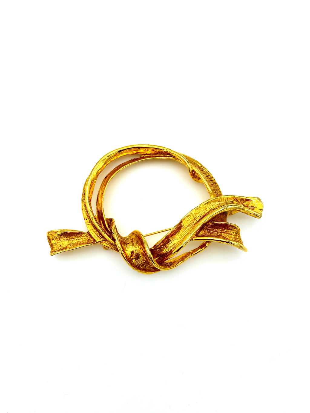 Antigona Paris Classic Large Gold Ribbon Statement Brooch-Sustainable Fashion with Vintage Style-Trending Designer Fashion-24 Wishes