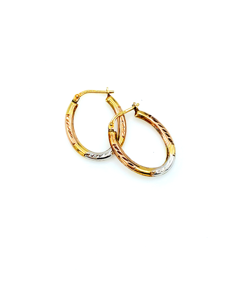 Tri-Color Gold Filled Vintage Hoop Pierced Earrings