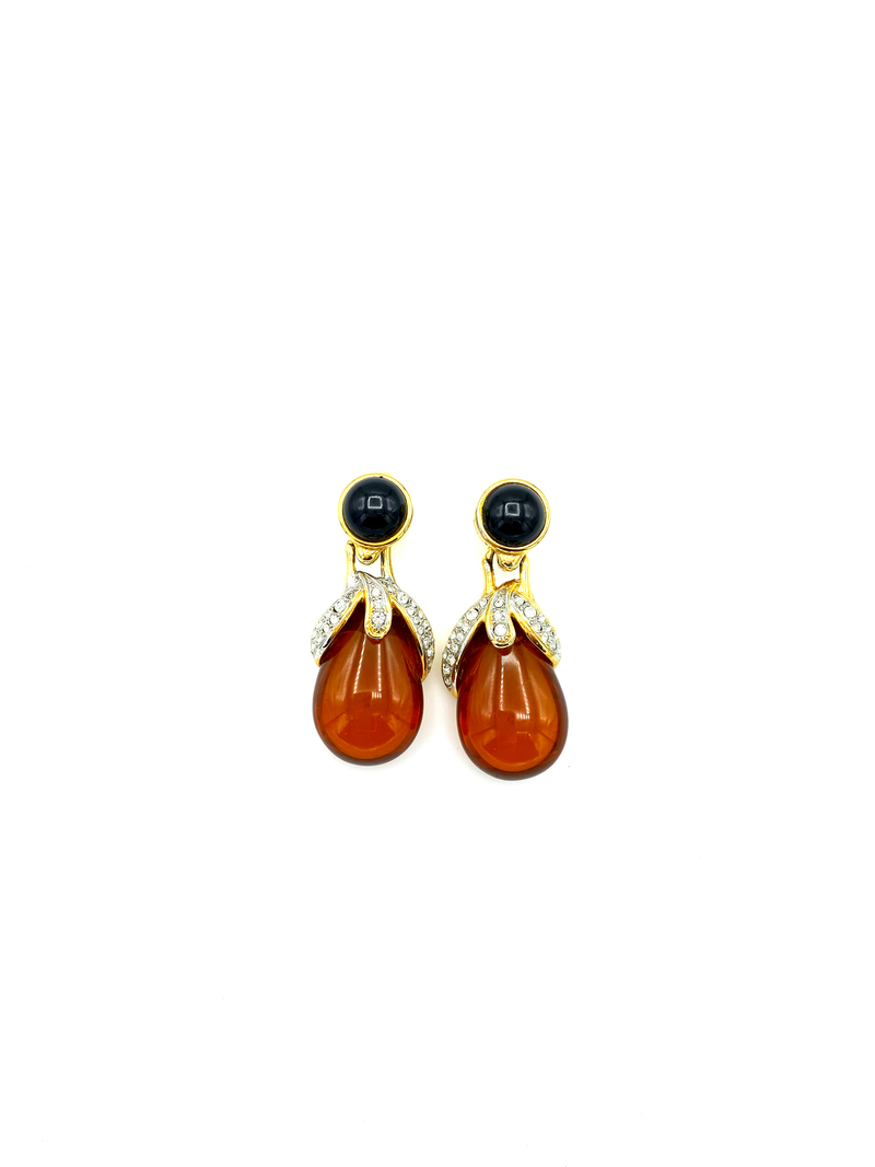 Vintage Amber Brown Teardrop Dangle Earrings by Craft-Sustainable Fashion with Vintage Style-Trending Designer Fashion-24 Wishes