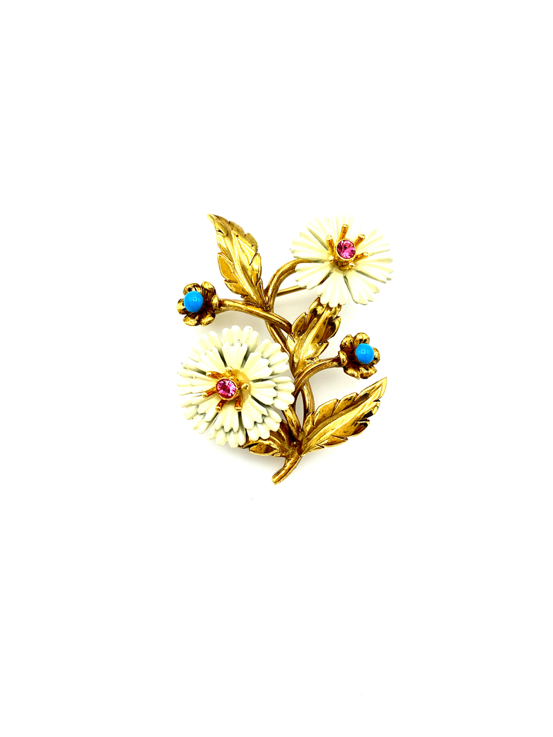 Joan Rivers White Daisy Flower Vintage Brooch