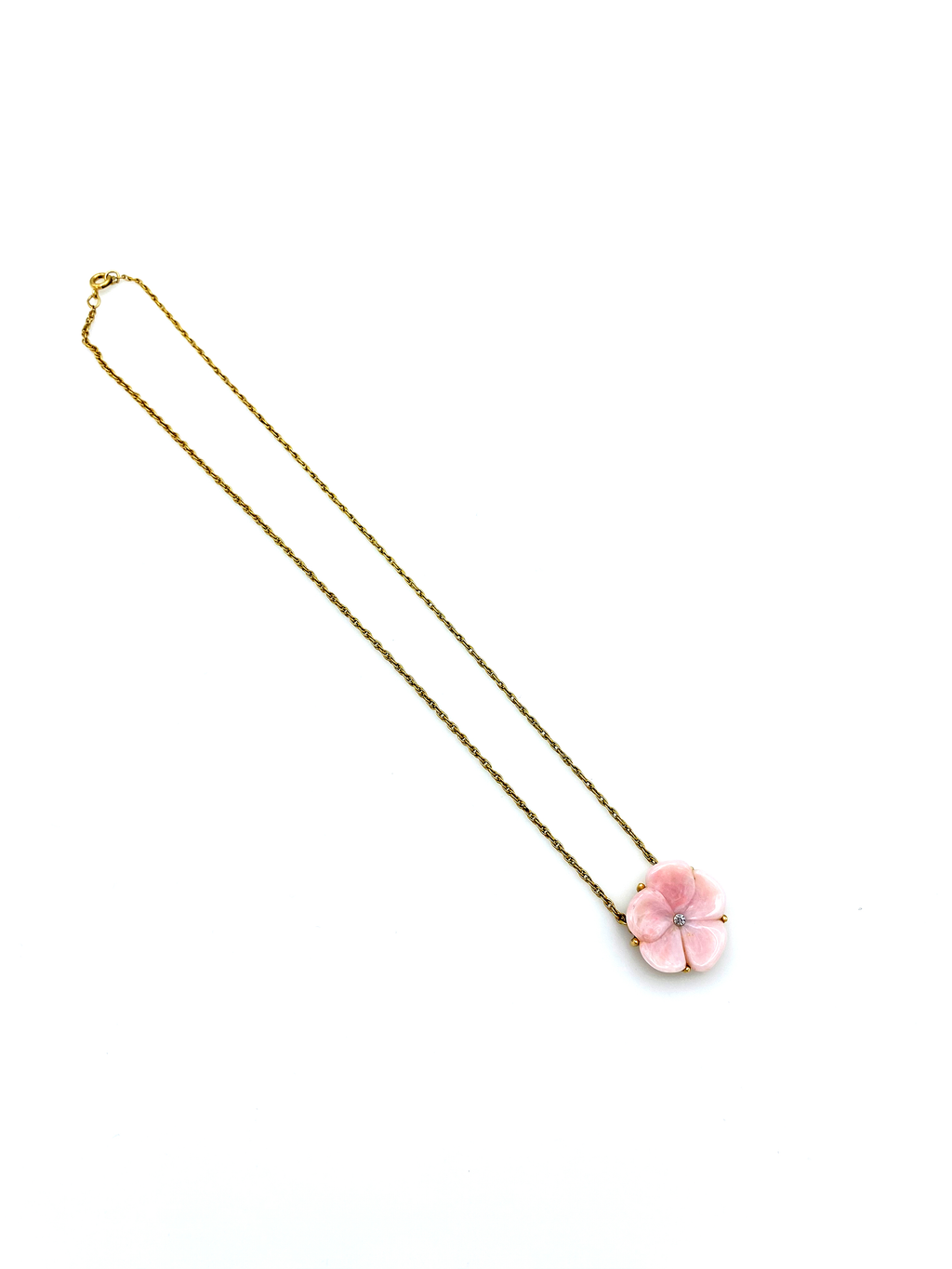 Pink Flower Gold Chain Vintage Pendant