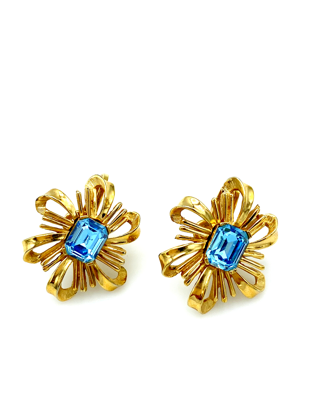 Crown Trifari Aquamarine Blue Rhinestone Bow Vintage Earrings-Sustainable Fashion with Vintage Style-Trending Designer Fashion-24 Wishes