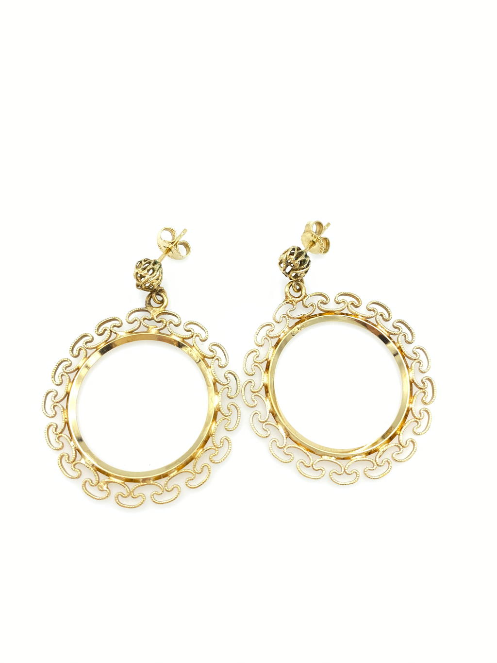 Gold Filled Filigree Circle Dangle Pierced Earrings