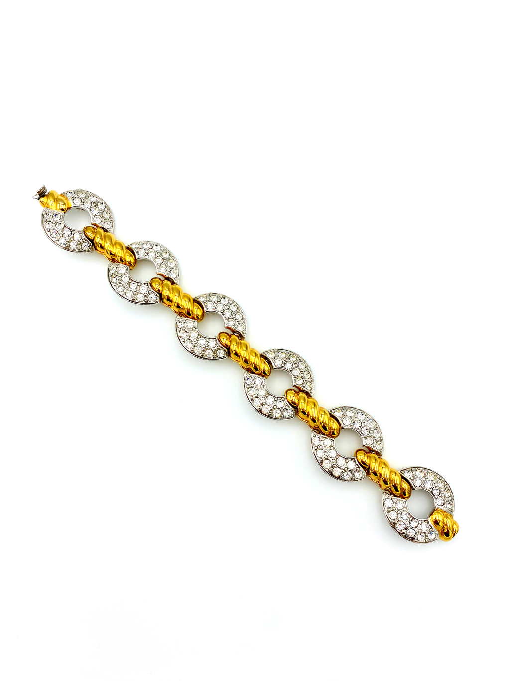 Nolan Miller Classic Gold & Silver Rhinestone Vintage Bracelet-Sustainable Fashion with Vintage Style-Trending Designer Fashion-24 Wishes
