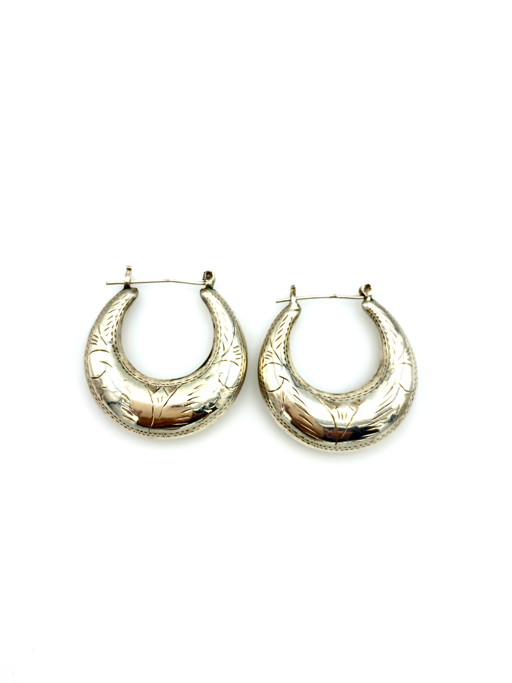 Sterling Silver Puffy Etched Vintage Hoop Pierced Earrings