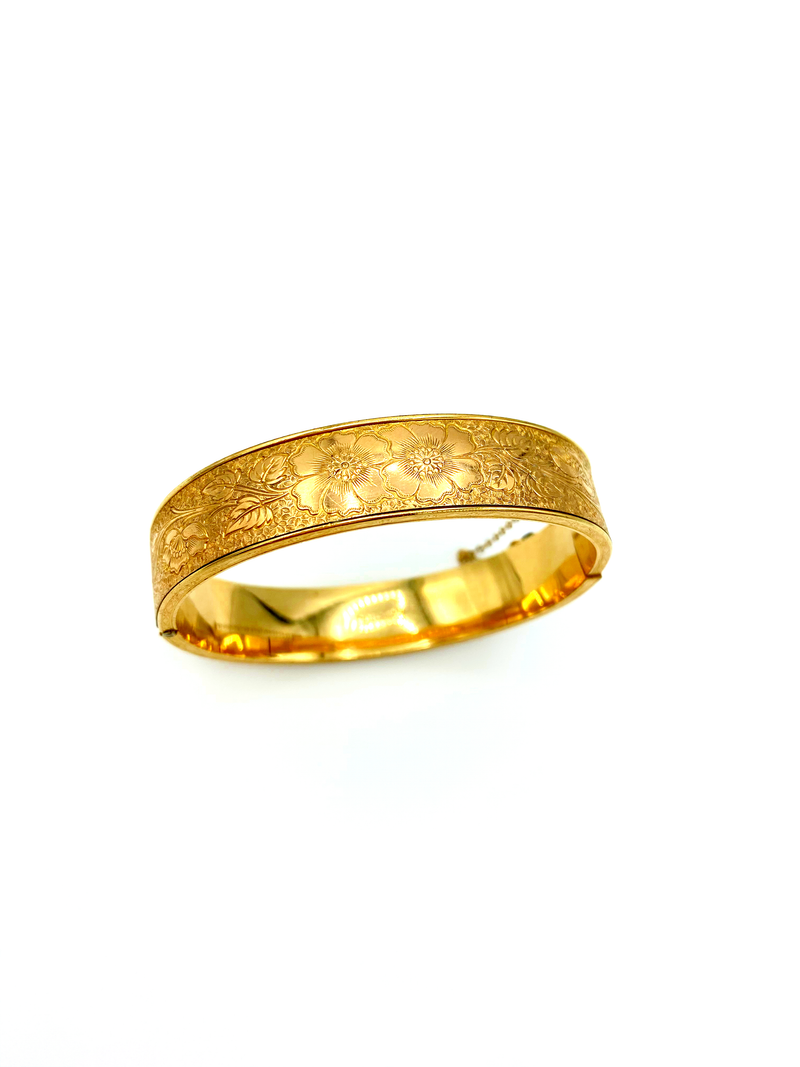 12K Gold Filled Floral Etch Vintage Bangle Bracelet