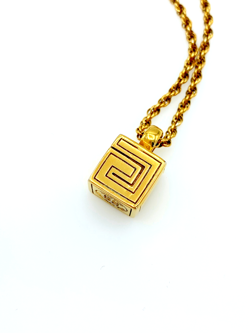 Givenchy Gold Cube Charm Vintage Pendant-Sustainable Fashion with Vintage Style-Trending Designer Fashion-24 Wishes