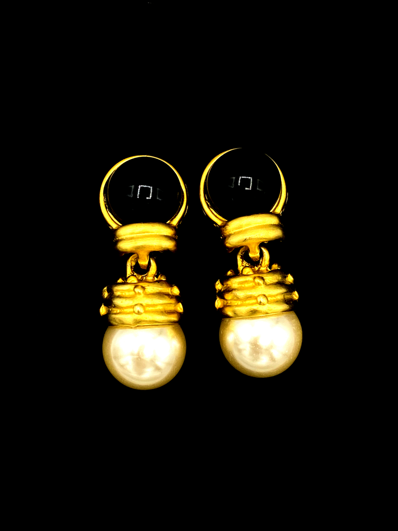 Blanca Matt Gold Pearl Dangle Vintage Statement Clip-On Earrings-Sustainable Fashion with Vintage Style-Trending Designer Fashion-24 Wishes