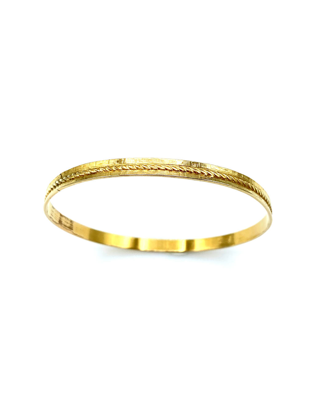 Gold Filled Danecraft Thin Twisted Rope Vintage Bangle Bracelet-Sustainable Fashion with Vintage Style-Trending Designer Fashion-24 Wishes