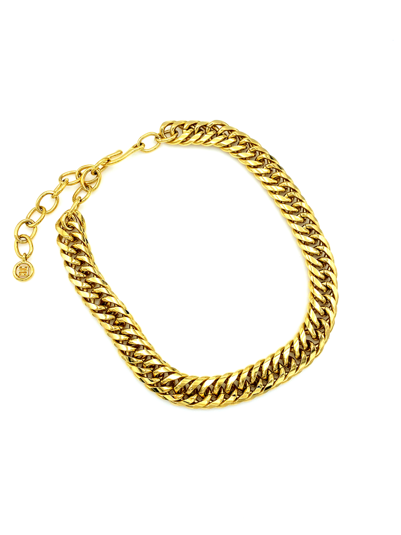 Givenchy Gold Curb Chain Vintage Necklace-Sustainable Fashion with Vintage Style-Trending Designer Fashion-24 Wishes