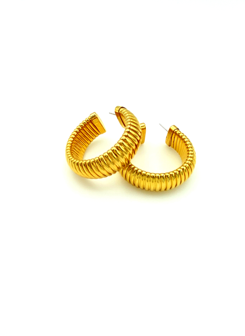 update alt-text with template Monet Gold Chunky Hoop Vintage Pierced Earrings-Earrings-Monet-[trending designer jewelry]-[monet jewelry]-[Sustainable Fashion]