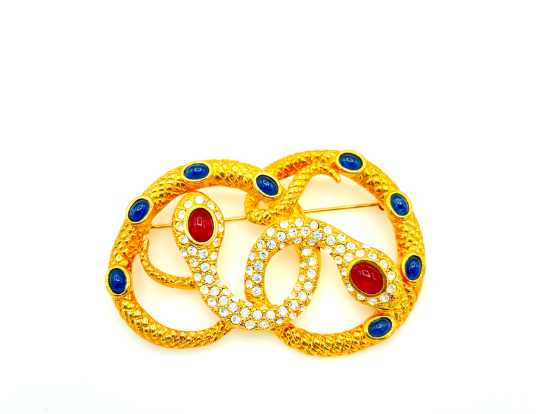 Kenneth Jay Lane Intertwined Snake Brooch