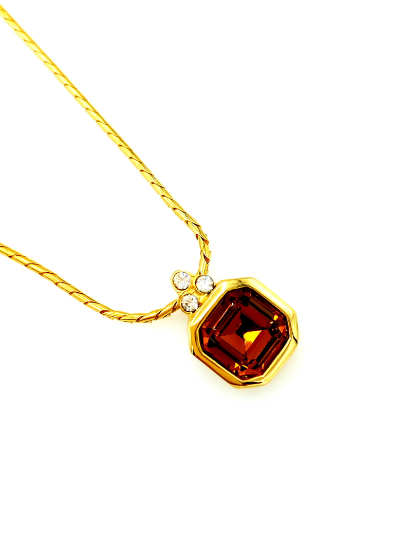 Givenchy Gold Classic Brown Topaz Vintage Pendant